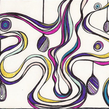 Abstract Art, Original Ink Drawing, Frameable Original Art, NoniDoodles, Colorful, Whimsical, OOAK