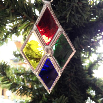 Stained Glass Christmas Diamond Ornaments (Set of Four)