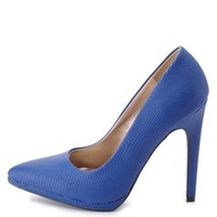 Python Textured Pointed Toe Pumps by Charlotte Russe - Cobalt