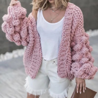 Autumn and winter new thick wool handmade sweater women lazy wind knit cardigan jacket
