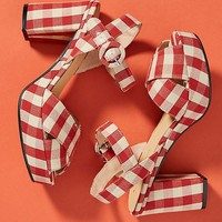 Anthropologie Gingham Platform Sandals
