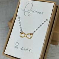 Forever and ever Valentine's Day Mini Two Tone Mixed Metals Floating Infinity Link Necklace, Tiny Infinity