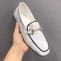LV Louis Vuitton Gucci Fashion Women Casual Single Shoe White