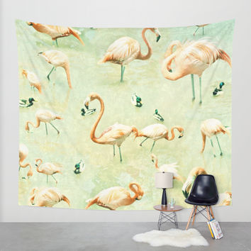Flamingos Wall Tapestry by Lisa Argyropoulos