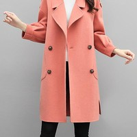 New Pink Pockets Turndown Collar Long Sleeve Going out Coat