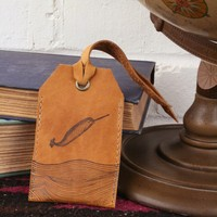 *Customizable* Narwhal Leather Luggage Tag