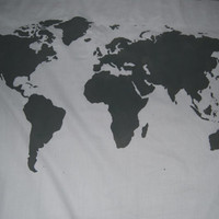 World Map Wall Tapestry in Grey