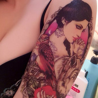 Sexy 3D Waterproof Temporary Tattoo Stickers Wolf and Beauty Girl Body Art
