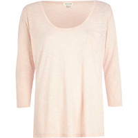 River Island Womens Light pink low scoop t-shirt
