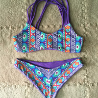 Colorful Floral Printed Padded Swimwear