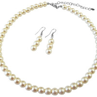 UNS031 Ivory Pearl Necklace Earrings  Beautiful Set Free Shipping In US