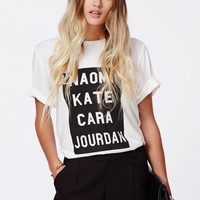 Missguided - Jourdan Supermodel Boyfriend T Shirt White