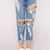 Winston Boyfriend Jeans - Medium Blue Wash