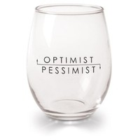 Funny Optimist Pessimist Wine Glasses - Stemless - Set Of 4