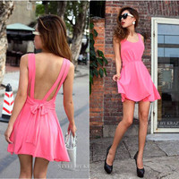 Lovely and Sexy backless pure color condole of tall waist dress