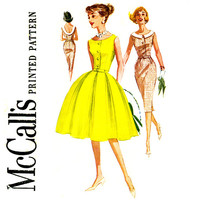 1960s Dress Pattern Bust 36 McCalls 5889 Fit and Flare Full Slim Sheath Skirt Cocktail Party Dress Low Back Womens Vintage Sewing Patterns