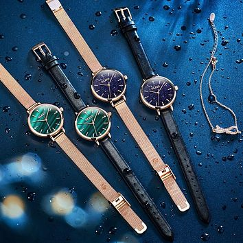 Womens Watches Wristwatch Rose Gold Starry Sky Quartz Band Ultra Thin Fashion Casual Mesh Waterproof Gifts for Ladies