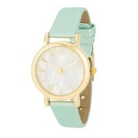Mother of Pearl Dial Mint Leather and Gold Tone Watch