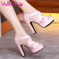 VALLKIN Sexy Peep Toe White Gladiator Summer Women Shoes Thick High Heel Woman Pumps Zipper Wedding /party Shoes Size 34-43