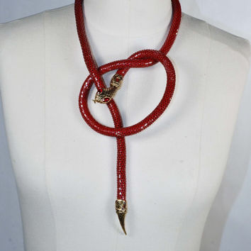 Vintage Red Articulated SNAKE Belt Necklace/ Egyptian Revival Goth Grunge Bohemian Chic Asp