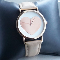 Holiday Sale! Pink Watch Baby Pink Large Heart Everyday Casual Nude Pink Faux Leather Strap Watch SALE