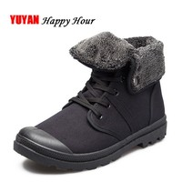 New 2017 Autumn Winter Boots Men Canvas Shoes Fashion Ankle Boots Warm Plush for Cold Winter Mens Boots Male Brand Footwear K090