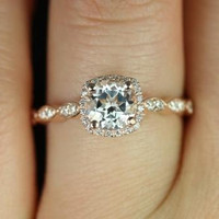 NEW Christie 2013 Collection 14kt Rose Gold Thin White Topaz Cushion Halo Engagement Ring (Other metals and stone options available)