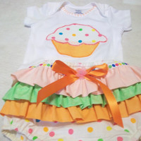 Baby Girl Embelished ruffled diaper cover set Baby girl outfit