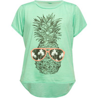 Full Tilt Pineapple Sunglass Girls Tee Mint  In Sizes