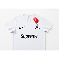 Nike Jordan joint name Supreme street fashion men and women street versatile fashion round neck T-shirt White