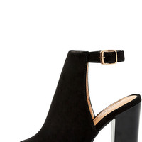 Budding Romance Black Suede Peep-Toe Booties