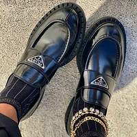 PRADA new product matt leather ladies platform loafers casual shoes