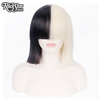 Rockstar Wigs Short Straight Sia Cosplay Wig T Black/Blond Color Women's Party Synthetic Hair