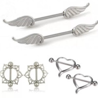 Fashion Women Surgical Steel Heart/Wing/ Flower Body Nipple Bar Barbell Party Vacation Piercing Shield Ring(1Pair)-0601