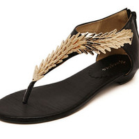 Golden Leaf Flat Sandals