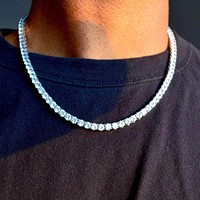 5mm Round Cut Tennis Necklace in White Gold