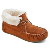 Women's Corene Lace Up Bootie Slippers - Chestnut : Target