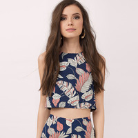 Summer Women Fashion Round Neck Sleeveless Leaf Print Vest Crop Tops