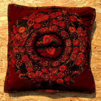 Mexican Cushion cover - Mexican Ethnic Design handmade Mayan pillow home décor Guatemala maroon orange sage and red.