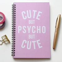 Writing journal, spiral notebook, bullet journal, cute notebook, sketchbook, pink and white, blank lined grid - Cute but psycho but cute