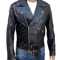 Outfitmakers Mens Motor Bikers Choice Leather Jacket Black - Terminator Style