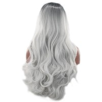 Colorful Long Wave Curly Black Ombre Grey Cosplay Wig Lolita Style Anime Cosplay Wigs