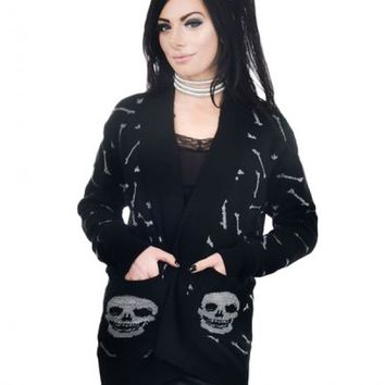 Too Fast Women's Long Cardigan Glitter Bones - Black