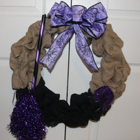 Halloween wreath with Witches Broom & Hat