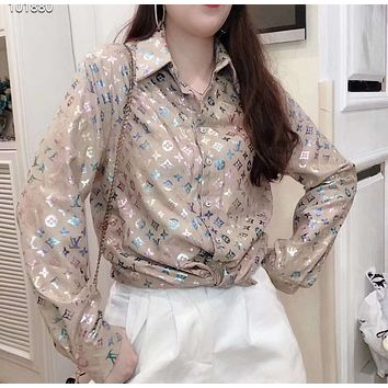 """""""LOUIS VUITTON"""" Woman Leisure Fashion Bright Color Letter Printing Wild Long Sleeve Shirt Leisure Tops"""