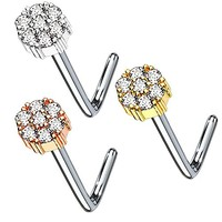 BodyJ4You 3-Pack 20G Nose Ring L-Shape Bend Stud Screw Round Paved CZ Flower Surgical Steel Nostril Set