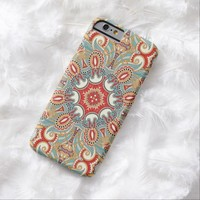 Chic Colorful Retro Red Turquoise Teal Kaleidoscope Morocca Mosaic Pattern iPhone 6 Case