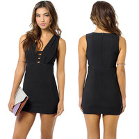 Black Deep V-Neck Cutout Front Bodycon Mini Dress