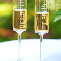 Personalized Contemporary Toasting Flute Set - David's Bridal- mobile