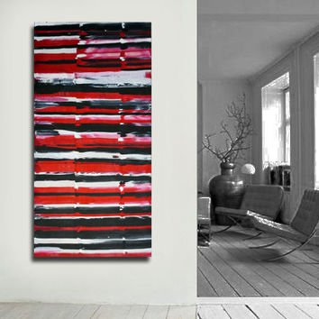 Made to order- Original- Abstract painting on canvas. Large painting. Red canvas art. Modern wall art. Contemporary fine art. Red Painting